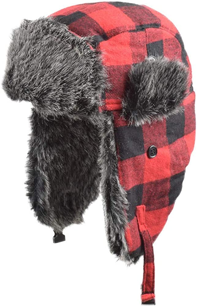 Winter Hats for Fur Red Warm Cap Windproof Women Thicker Plaid Mens Bomber Hat
