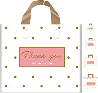 Thank You Bags Shopping Bags, 50 Pack Extra Thick Bulk Merchandise Bags Plastic Boutique Bags for Small Business Plastic R...