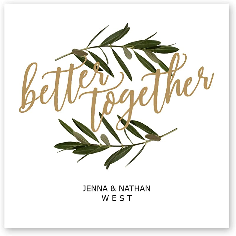 Better Together Personalized Beverage Napkin 100 Custom Printed White Uncoined Napkins 4 3 4 X 4 3 4 Folded Made In The USA