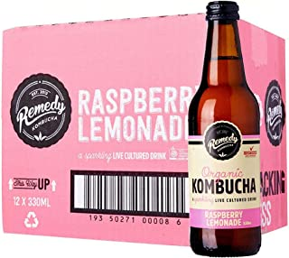 Remedy Organic Kombucha Raspberry Lemonade, 330 ml (Pack of 12)