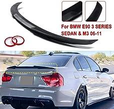 Mate/Brillante Negro/Fibra de Carbono Estilo ABS Tronco alerón del ala-M4 Estilo for 2006-2011 for BMW E90 3 sedán Serie y M3 2008-2012 (Color : Carbon Fiber)