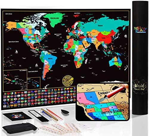 Novelty Place Scratch Off World Map Poster with States and Flags Travel Tracker Map Poster Complete product image