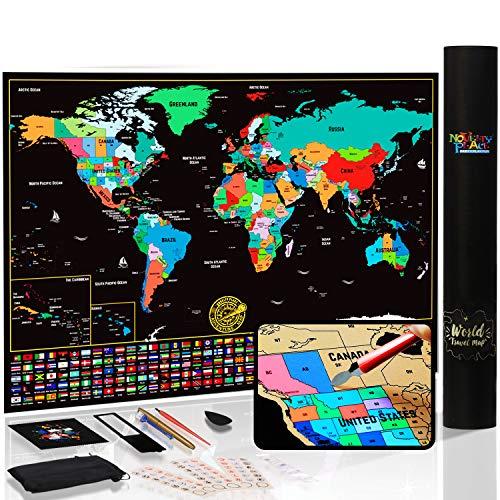 Mapa del mundo para rascar con estados y banderas, pster de mapa de viaje, kit completo de rascador...