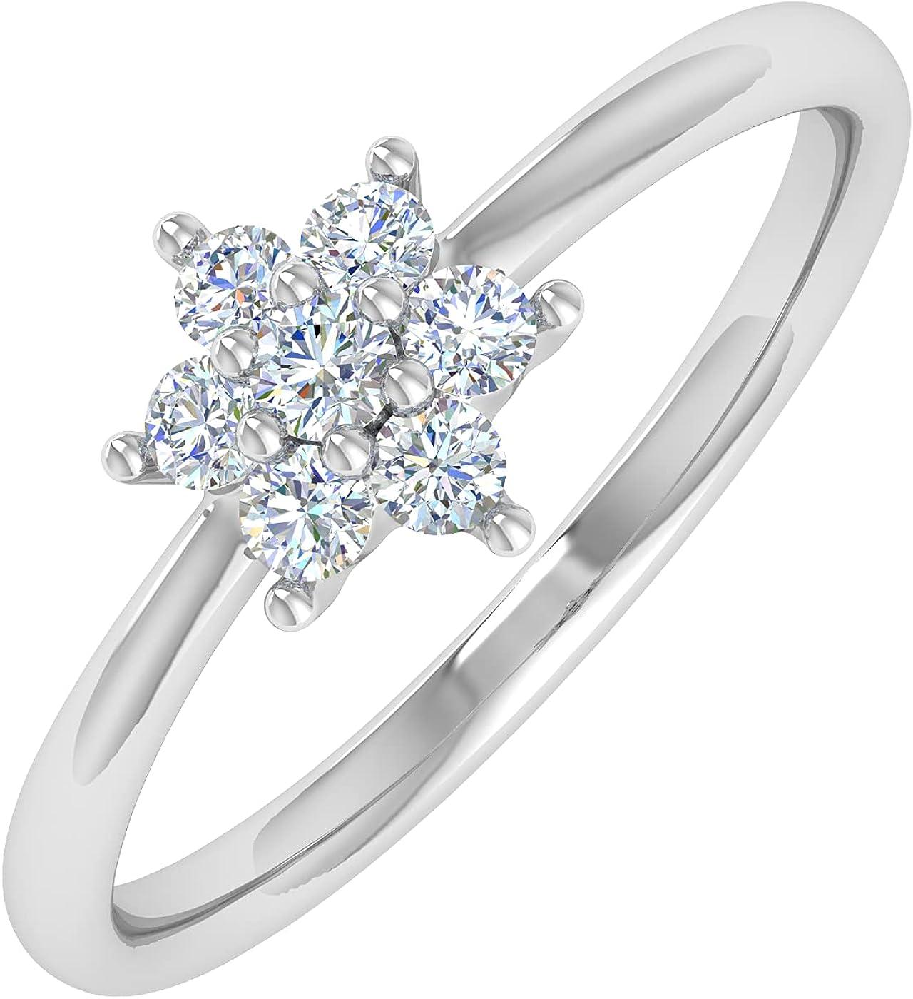 0.15 Carat Prong Set Diamond Cluster Ring Band in 14K Gold
