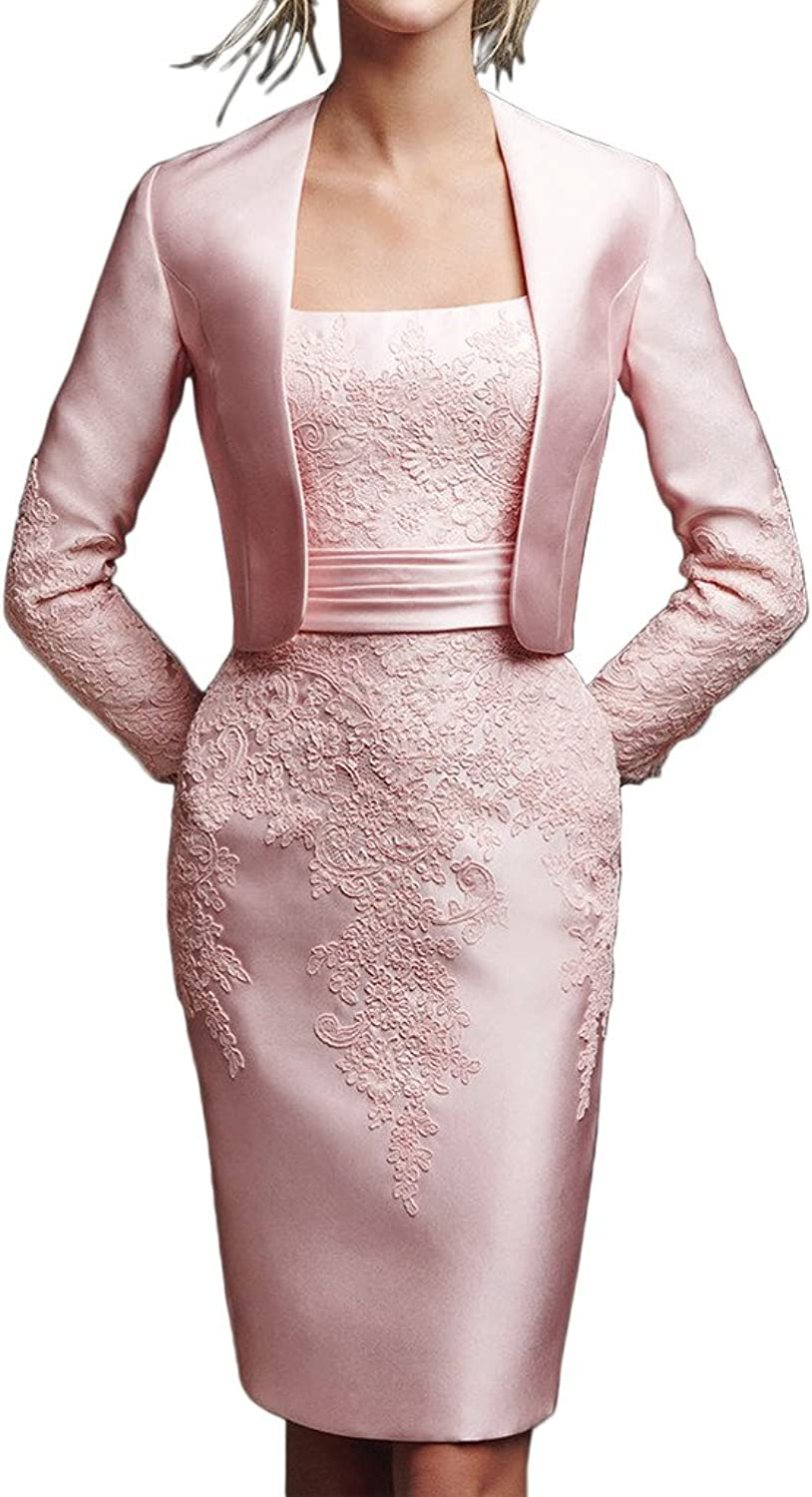 Angel Bride Exquisite Satin Mother of the Bride Evening Dress Short with Jacket