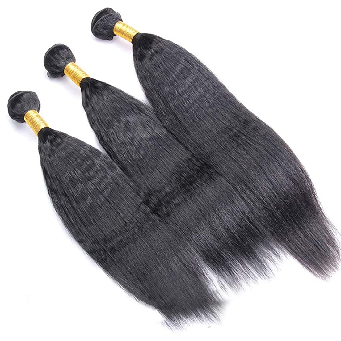 ブロンズ承認動脈かつら ブラジルのRemy人間の髪の毛変態ストレート横糸ヘアエクステンションナチュラルブラック1バンドル(100g、10