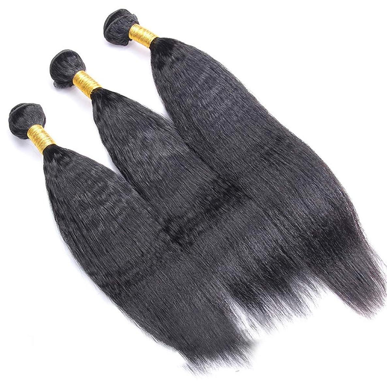 聖書四回日焼けYrattary ブラジルのRemy人間の髪の毛変態ストレート横糸ヘアエクステンションナチュラルブラック1バンドル(100g、10