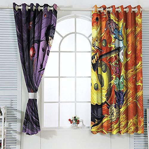 Naruto Vs Sasuke Anime Naruto - Juego de 2 cortinas para cocina, café, dormitorio, sala de estudio, W55 x L45