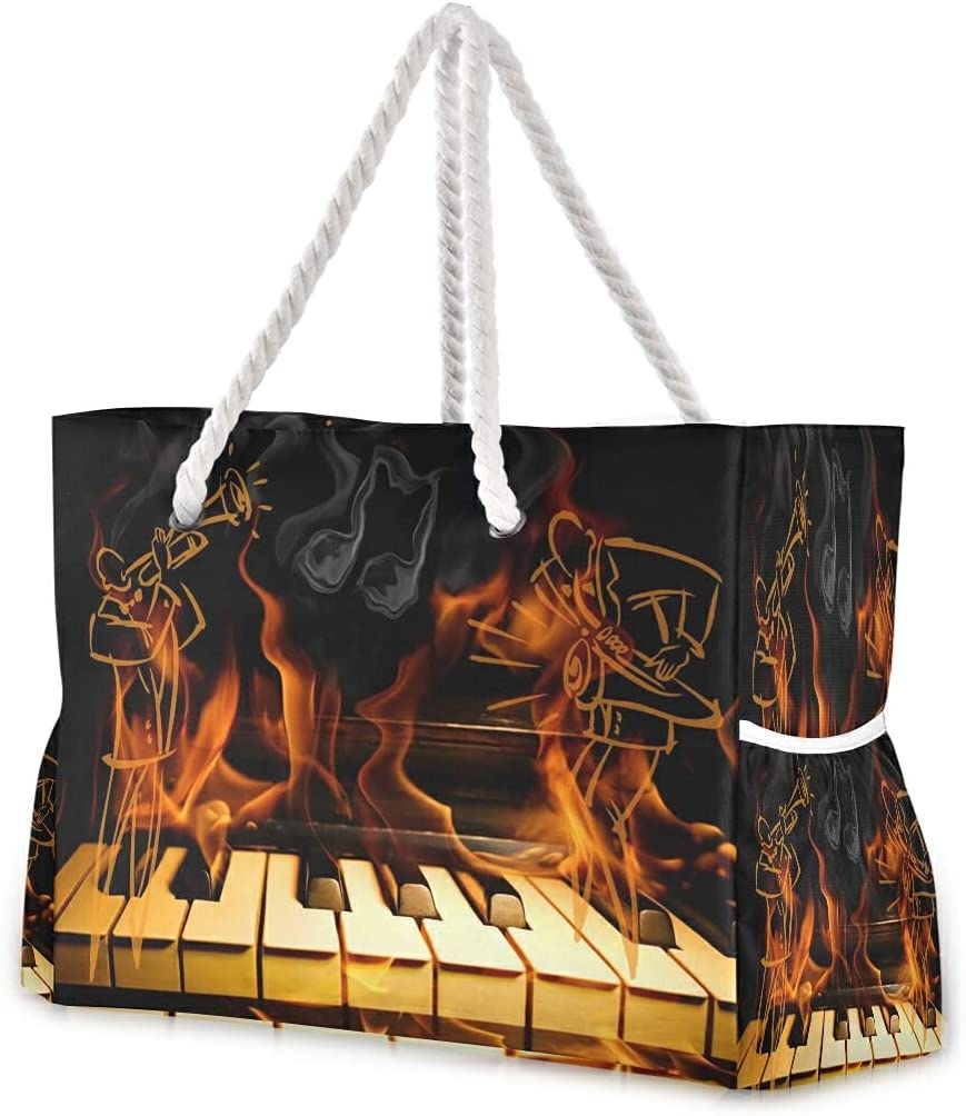 Large Very popular Beach Bags Totes 11 5 ☆ popular Canvas Shoulder Music R Tote Water Bag