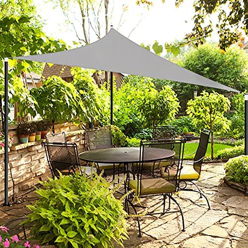OKAWADACH Sonnensegel, Polyester Sonnensegel Sonnenschutz Garten Balkon und Terrasse wetterbeständig mit UV Schutz Windschutz für Garten Terrasse Camping (Dreieck 3 x 3 x 3m Hellgrau)