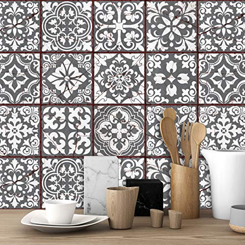 Walplus 24 st självhäftande väggkakelvinyl, marockansk ros, 15 cm (6 tum), röd mosaik, lätt att klistra fast, kökspanel, heminredning, gör-det-själv, för vardagsrum stänkskydd för kök, badrum. Självhäftande på kakel