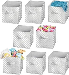mDesign Soft Fabric Closet Storage Organizer Cube Bin Box, Handle - Storage for Baby Child/Kids Room, Nursery, Toy Room, F...