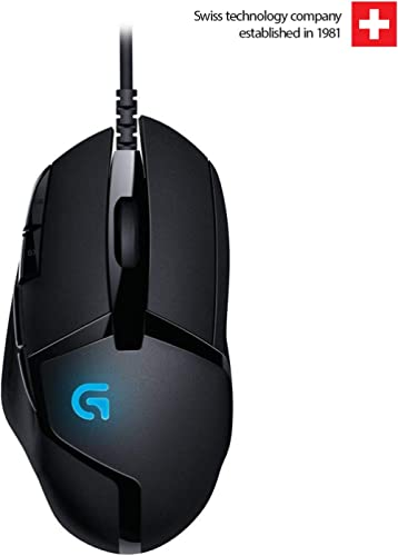 Logitech G 402 Hyperion Fury Wired Gaming Mouse, 4,000 DPI, Lightweight, 8 Programmable Buttons, Compatible with PC/M...