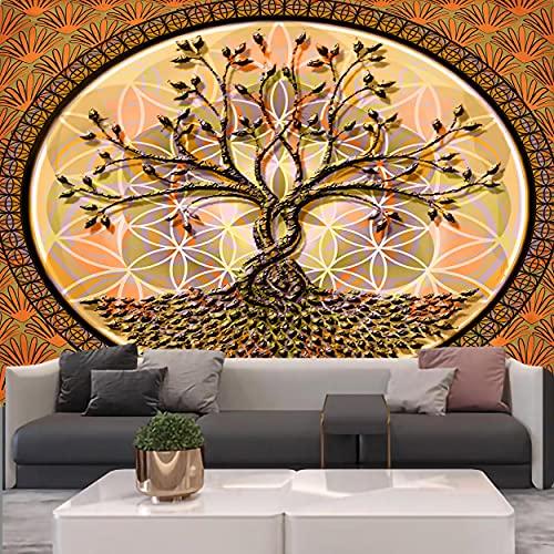 KHKJ Tapiz de árbol psicodélico Mandala Colgante de Pared macramé Hippie tapices para Sala de Estar decoración del hogar A10 230x180cm