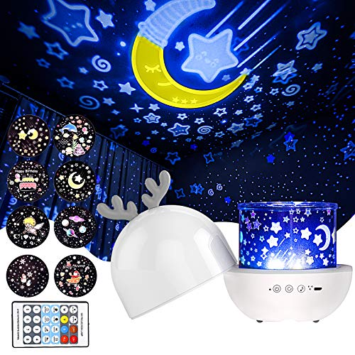 Star Projector Night Light,Night Light Projector for Bedroom,Remote Control,Timer Design,Built-in 8 Light Songs,360 Degree Rotating,7 Colorful Lights,Best Gift for Kids and Adults
