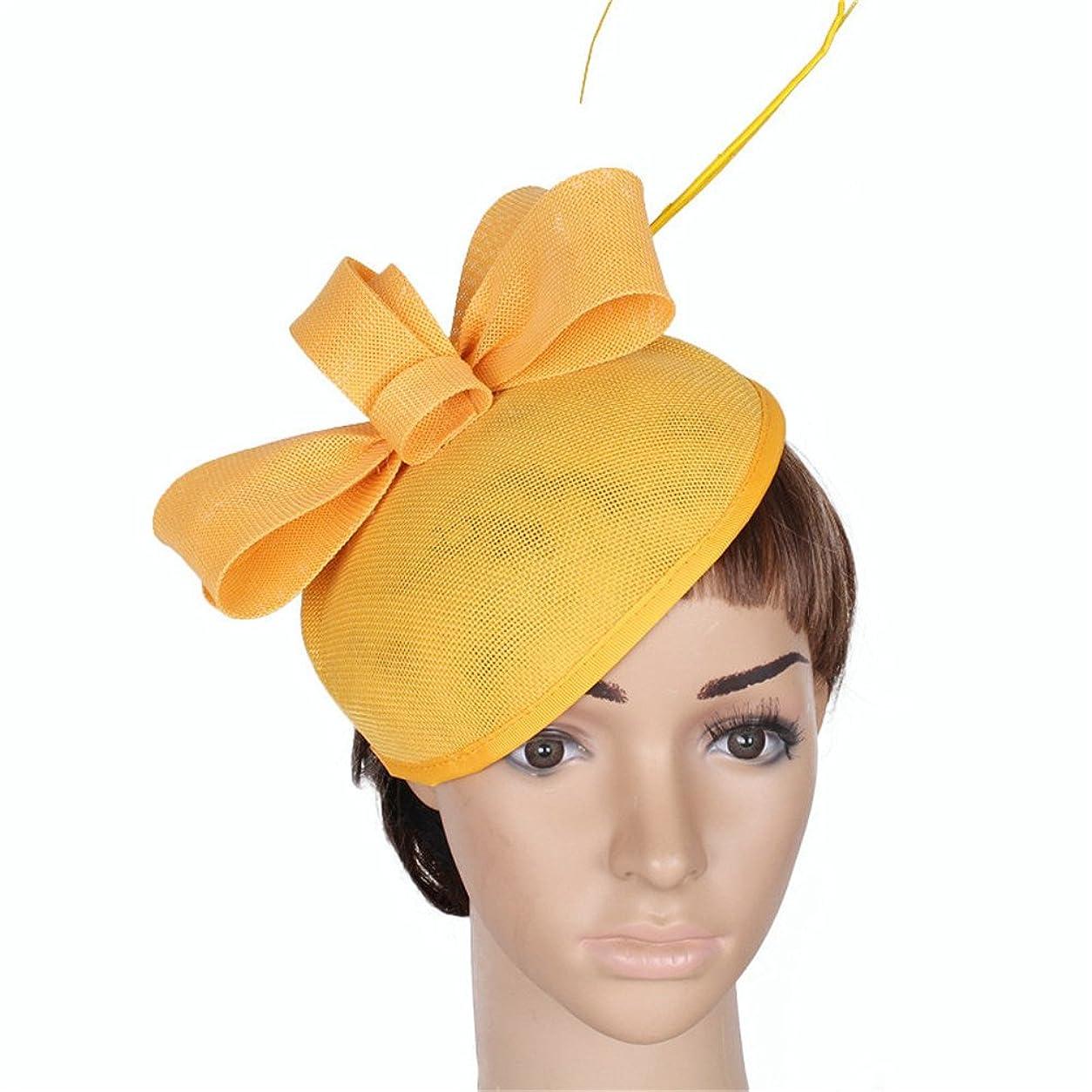 ホームビデオ野な女性の魅力的な帽子 女性の魅惑的な帽子羽メッシュメッシュカクテルティーパーティー帽子花ダービー帽子クリップゲームロイヤルアスコット (色 : 赤)