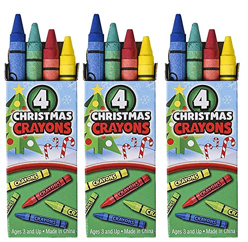 72 Boxes Christmas Crayons 4 Pack Holiday Themed Crayons for Kids - Christmas Party Favors, Classroom Prize, Xmas Stocking Stuffers, Party Supplies, Goodie Bag Fillers - Non Toxic by 4E's Novelty