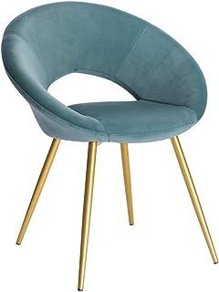 PPCAK Tela de Comedor de Terciopelo Colorido Tela Asiento tapizado con Patas de Metal Vestido Salón Casa Muebles de Cocina (Color : Turquoise)