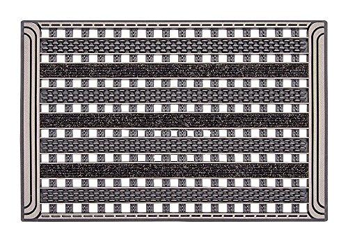 CarFashion Outdoor Fußmatte PUR|GridClean, mit hochwirksamer Textileinlage und Disc-Scraper in robuster Gitter-Rost-Struktur, Bronce, TPE-VC 100% Nachhaltig, Bronze Metallic, 59 x 39 cm