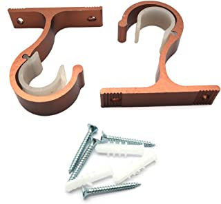 Sydien 2Pcs Heavy Duty Curtain Rod Brackets With Screws and Anchors Top Mounted (Copper)