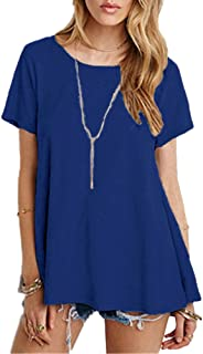Afibi Women's Basic Short Sleeve Scoop Neck Pockets Swing Tunic Loose T-Shirt