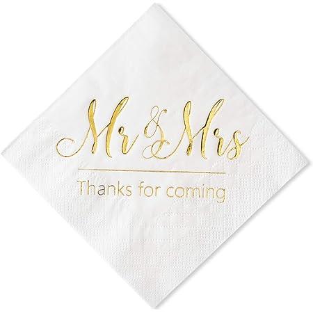 Gexolenu Mr /& Mrs Cocktail Wedding Foil Napkins Dessert Disposable Beverage Paper Napkins for Wedding Shower Party Decorations and table decorations Supplies Rose Gold 100 pcs