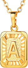 U7 Monogram Necklace A-Z 26 Letters Pendants with Custom Engrave Service 18K Gold/Platinum Plated Layering Disc Coin/Hexagon/Square Tiny Initial Necklaces for Women Girls