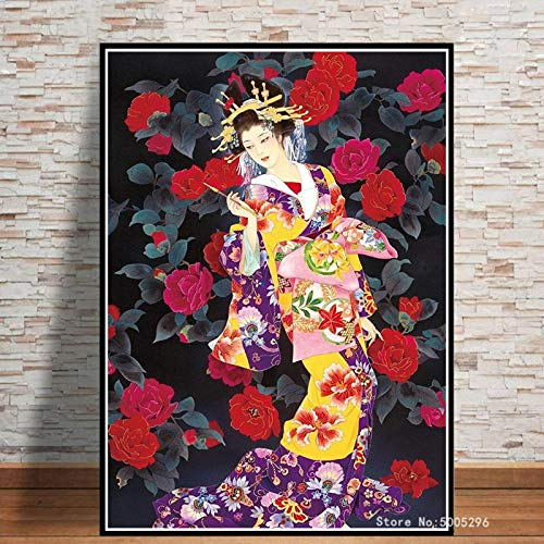 Carteles E Impresiones De Mujer Japonesa Lienzo Arte Pintura Cuadros De Pared para Sala De Estar Decoración del Hogar Cuadro En Lienzo Sin Marco 50X70Cm -A832