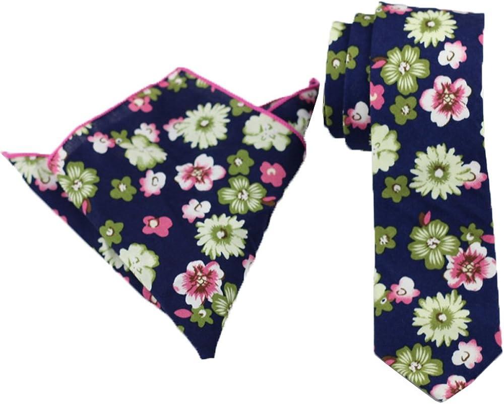 Coachella Ties Florals/flower Cotton Necktie Skinny Tie 6cm Pocket Square (Navy Tie+Hanky)