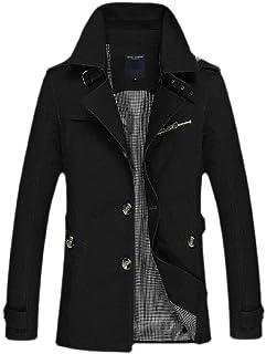 Men Single-Breasted Cotton Jackets Windbreakers Wind Trench Coat Outdoor Jacket