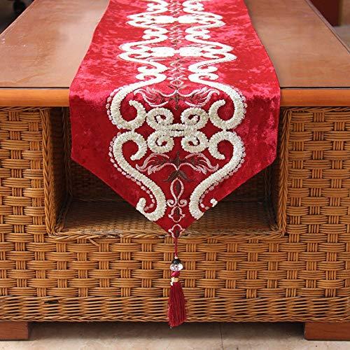 Europese minimalistische tafelloper, klassiek decoratief tafelkleed met franjes, hoogwaardig flanel, driedimensionaal botanische bloemenpatroon, voor decoratieve tafel, bruiloft, feest, fotografie ++ 33×160cm rood
