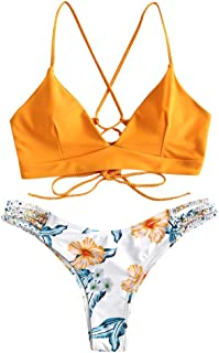 Women Braided Straps Lace Up Bikini Set 2 Piece Swimsuit Flower Bathing Suit
