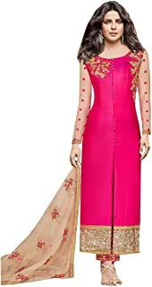 Bollywood priyanka Chopra SIlk Pink Staright Salwar kameez indian Festival Diwali Muslim Suit 19