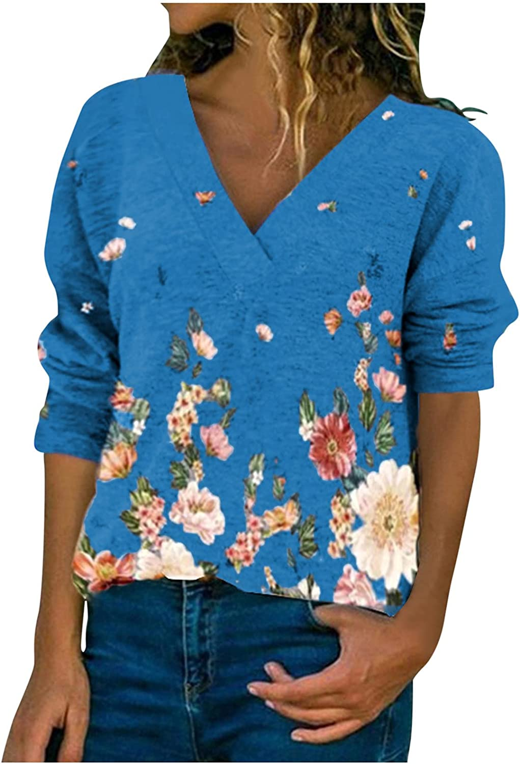 Floral Tops for Women Long Brand Cheap Sale Venue Sleeve V Pullovers Neck Print Save money Flower