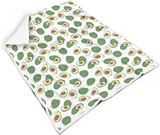 Funming Blanket Avocado Graphics Design Printed Fleece Original Bedding Blanket - Pabulum Leisure Wear Suitable for Adults Use White 50x60 inch
