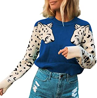 Opinionated Women's Lightweight Leopard Color Block Long Sleeve Loose Fit Pullover Sweatshirts Tunics Tops Shirts