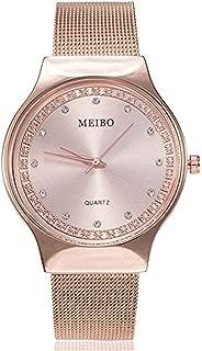 Triskye Women Men Analog Quartz Watches Luxury Business Casual Stainless Steel Band Wrist Watch Girls Ladies Round Bracelet Wristwatch with Simple Fashion Classic Time Mark Design