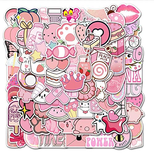 ZZHH 100 Piezas Lindo Rosa Graffiti Impermeable monopatín Maleta de Viaje teléfono portátil Equipaje Pegatinas Lindos Juguetes para niños y niñas