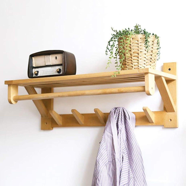 Coat Rack, Wooden Hanger 5 Hooks Entryway Wall-Mounted Storage Display Stand Shelf