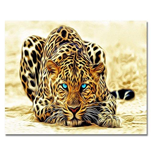 RIHE Rahmenlos, Malen nach Zahlen DIY Ölgemälde Leopard Leinwand Druck Wandkunst Heimdekoration
