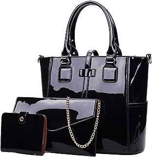 Women's 3pcs Handbags Patent Leather Fashion Shoulder Bag Large Capacity Handbag