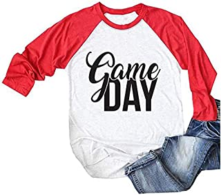 Game Day Football T-Shirt Women's 3/4 Raglan Sleeve Tops Splicing Tees Blouse