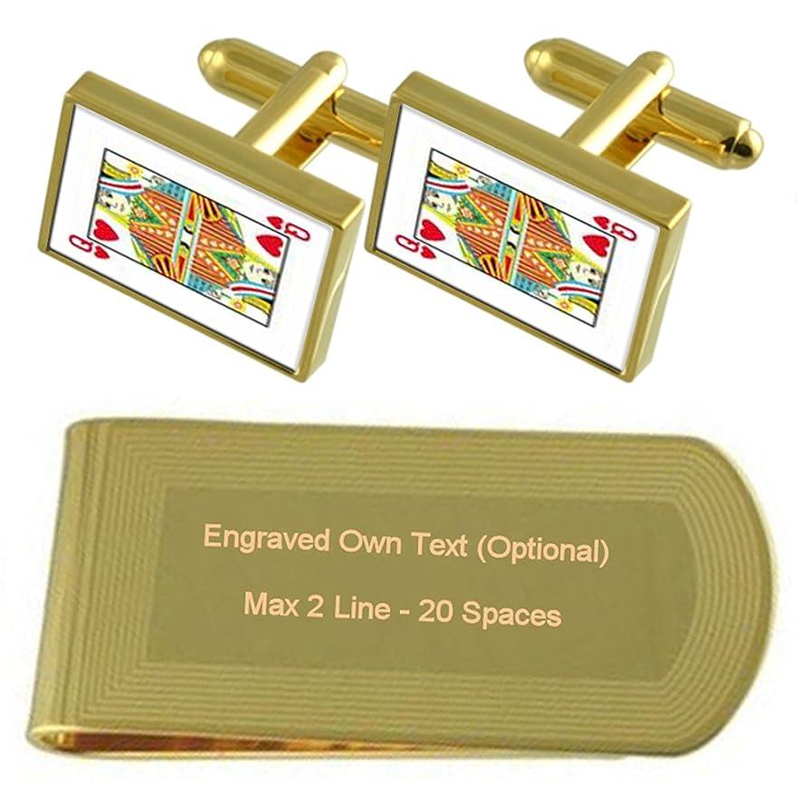 適度な手錠コード中心部カードクイーンゴールドの再生トーン カフスボタン お金クリップを刻まれたギフトセット