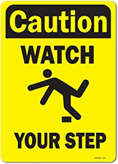 "eSplanade Caution Watch Your Step Sign Decal Sticker - Easy to Mount Weather Resistant Long Lasting Ink (Size - 10""x7"")"