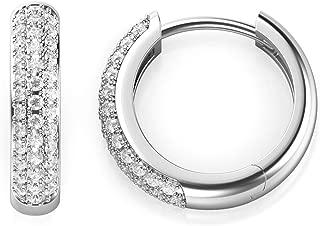 925 Sterling Silver Pave Set CZ Cubic Zirconia Huggie Hoop Earrings