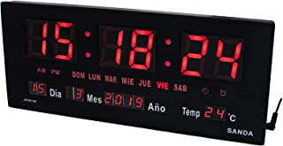 Sanda SD-0015 Reloj Digital de Pared y Mesa Led Color Rojo C