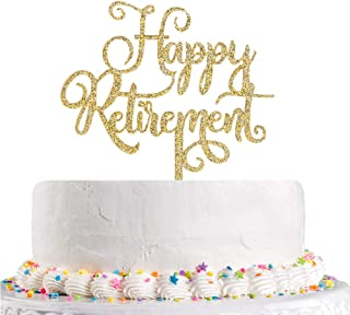 Happy Retirement Cake Topper Gold Glitter The Adventure Begin, Retirement Party Decoration Supplies(Acrylic)