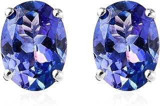 AAA Premium Tanzanite Stud Solitaire Earrings 18K White Gold Jewelry for Women Gift
