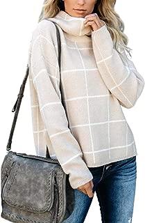Kistore Women Casual Turtleneck Plaid Sweater Side Slit Long Sleeve Knit Pullover Sweaters Jumper
