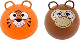 SK Novelty Zoo Animal Face 20 Inch Hopper Exercise Hoppity Hop Jump Balls with Two Handles - 2 Pack (Orange Tiger & Brown Monkey)